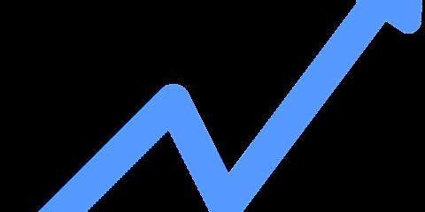 右肩上がりの水色の折れ線グラフ