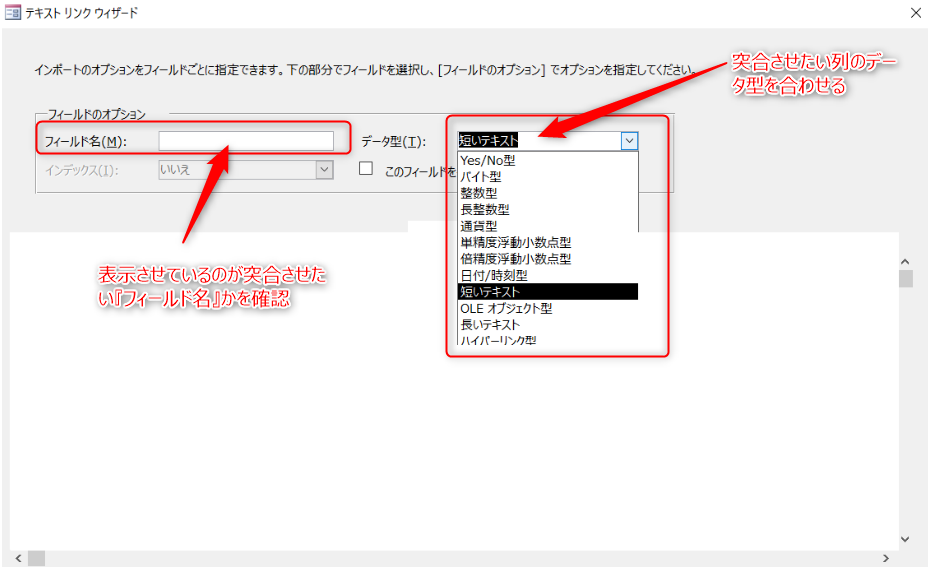 Access データ型選択画面