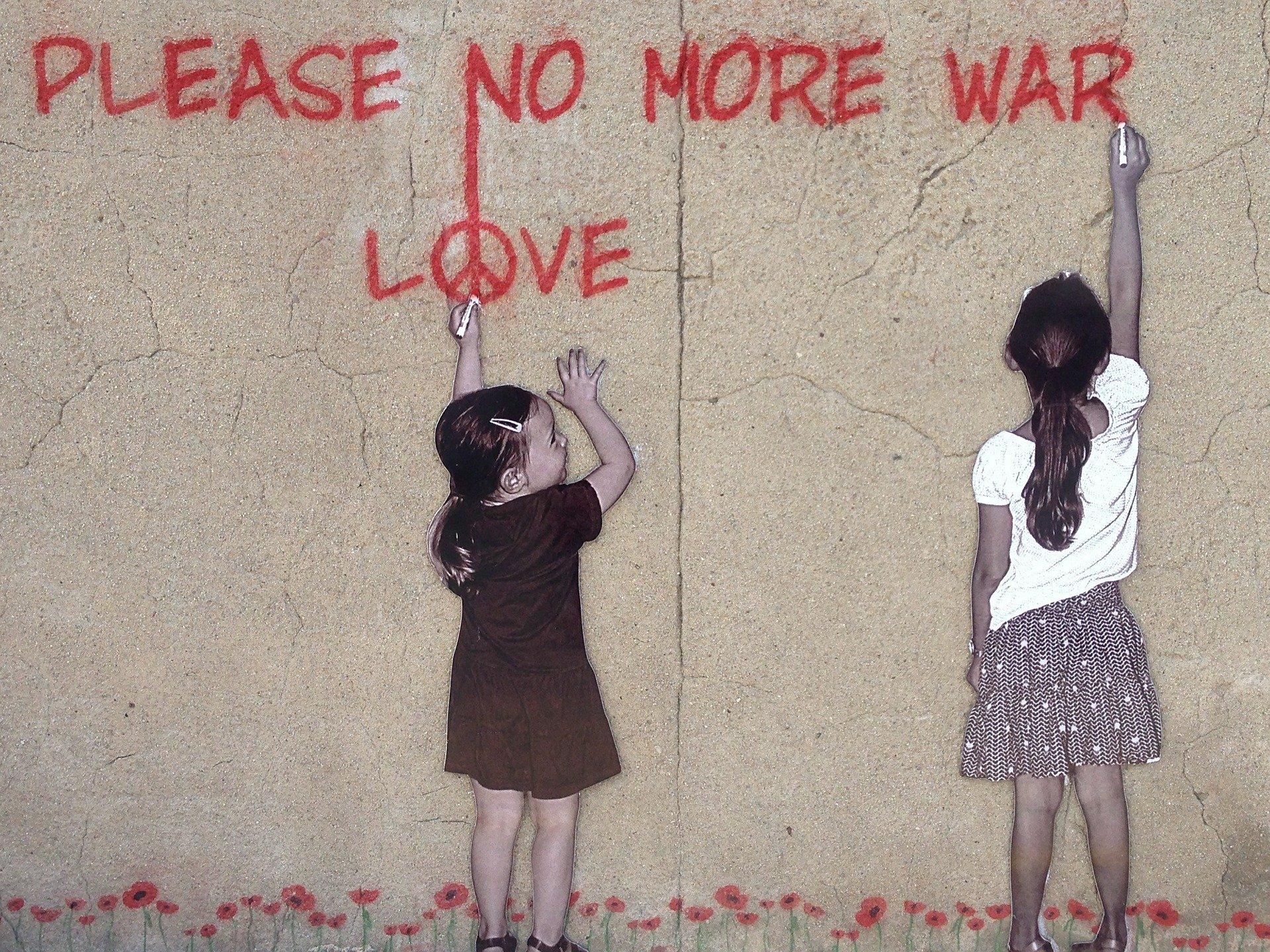 壁に書かれた 平和
