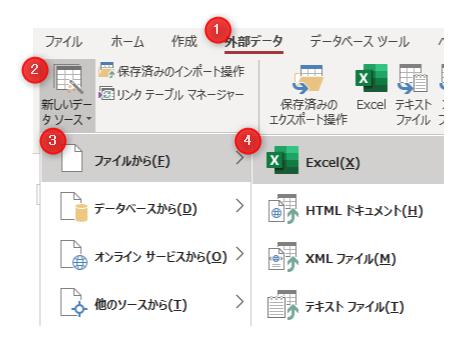 Accese Excel インポート操作画面