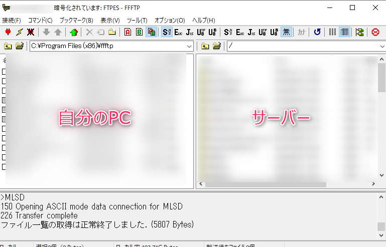 FFFTP正常接続画面