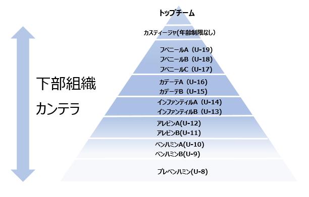レアルマドリード カンテラ(下部組織)ピラミッド図